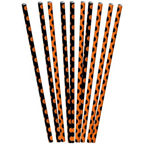Orange and Black Dots Paper Straws - 21cm - Pack of 10