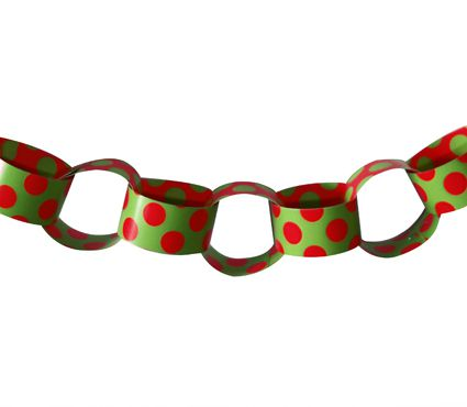 Red & Green Polka Dot Paper Chain Sheet - A3 Card