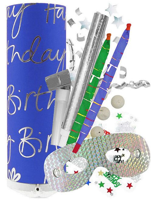 Generic Birthday Party Bomb - Blue - 26cm