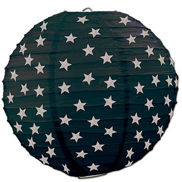 Black & Silver Star Paper Lanterns - 24 cm - Pack of 3