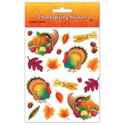 Thanksgiving Stickers - 19.1cm - 4 Sheets