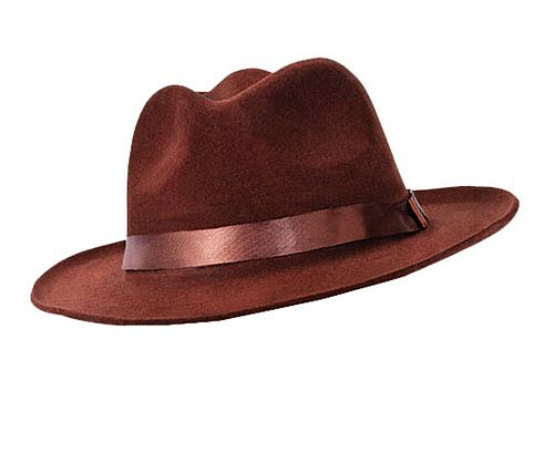 Brown Velvet Fedora Hat