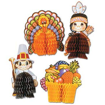 Thanksgiving Playmates - Assorted Designs - 12.7cm - Pack of 4