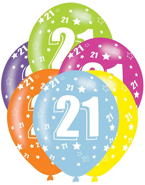 All Round Printed Age 21 Latex Balloons - Assorted Colours - 27.5cm - Pack of 6