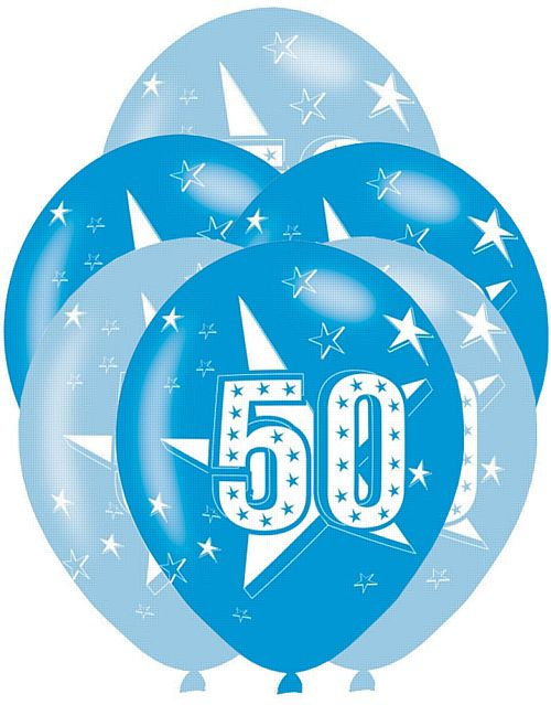 All Round Printed Age 50 Blue Latex Balloons - 27.5cm - Pack of 6