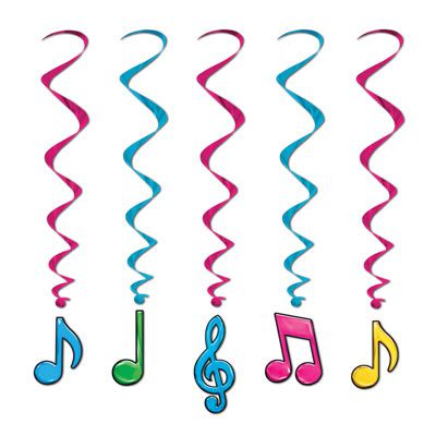 Neon Musical Note Whirls Assorted Colours - 91.4cm - Pack of 5