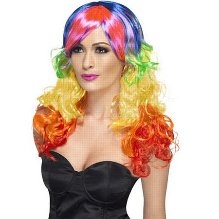 Rainbow Curl Wig, Multi-Coloured