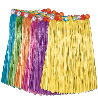 Deluxe Child Grass Hula Skirt - Assorted Colours - 68.6cm - Each