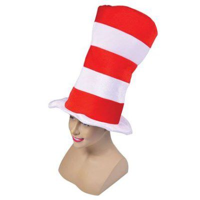 Adult Red and White Striped Top Hat