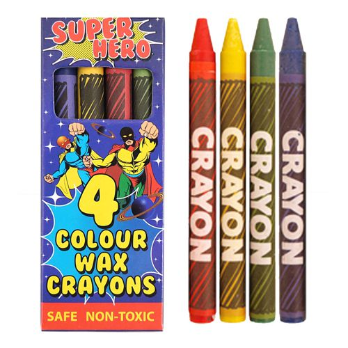 Superhero Wax Crayons - Pack of 4