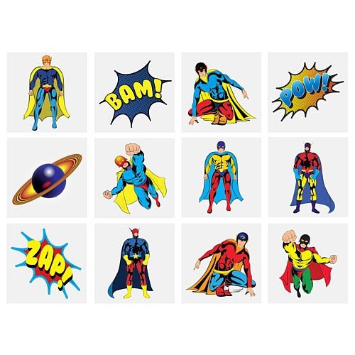 Mini Superhero Tattoos - Assorted Designs - 4cm - Pack of 12
