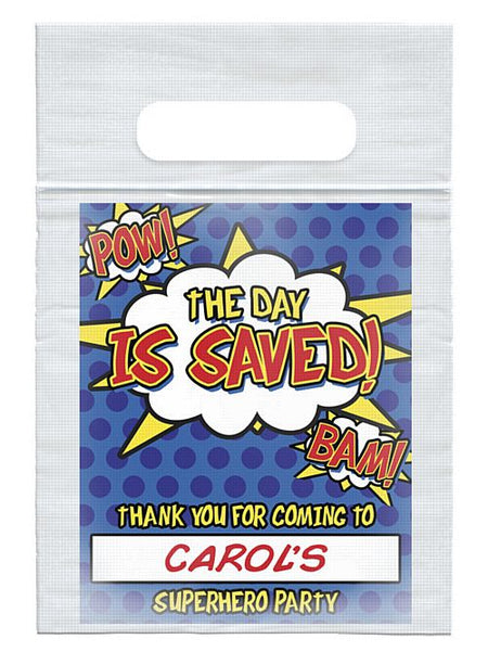 Personalised Heroic Themed Card Insert With  Sealed Party Bag - Each