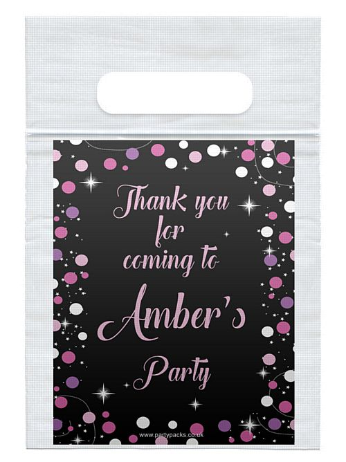 Personalised Birthday Sparkle Pink Card Insert With Sealed Party Bag- Each