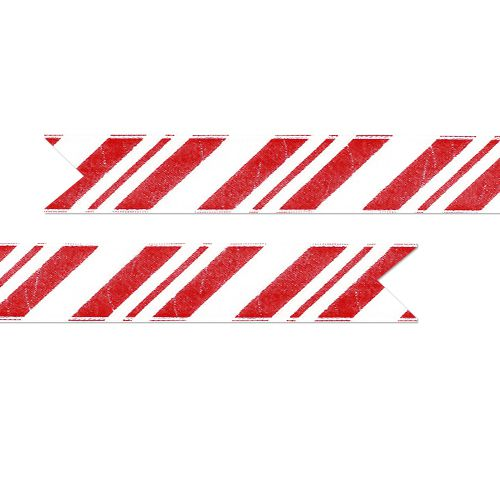 Candy Cane Printed Ribbon Red on White - 25mm - Per Metre
