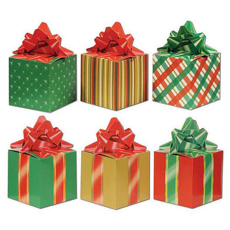 Reversable Christmas Present Shaped Favour Boxes - 8 x 15cm - Pack of 3