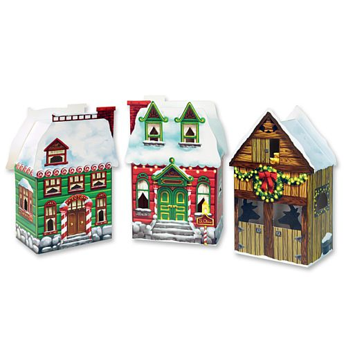 Christmas Village Favour Boxes - 8 x 17cm  - Pack of 3