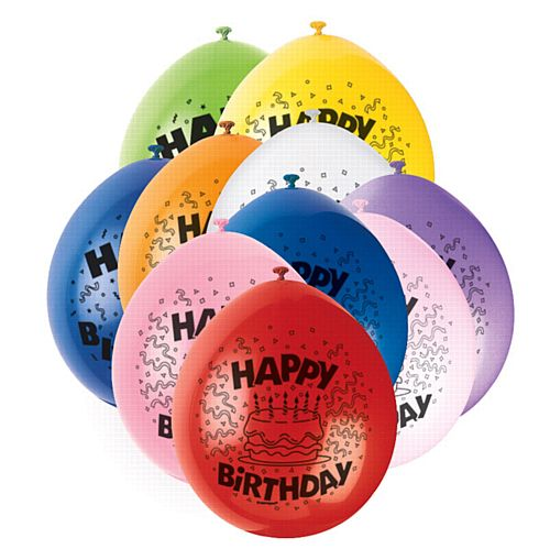 Happy Birthday Latex Balloons - Assorted Colours - Pack of 10
