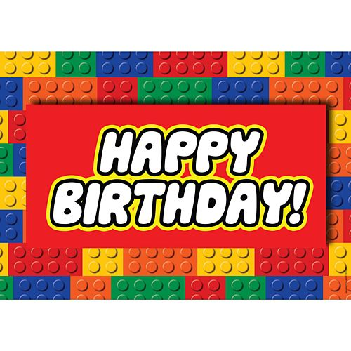 Building Blocks Happy Birthday Poster - A3