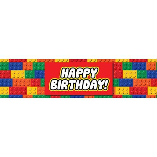Building Blocks Happy Birthday Banner - 1.2m