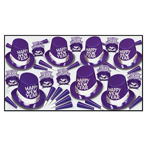 Purple Passion Hat and Novelty Party Pack for 50 People