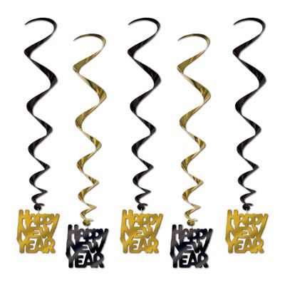 Black & Gold Happy New Year Whirls - 83.8cm - Pack of 5
