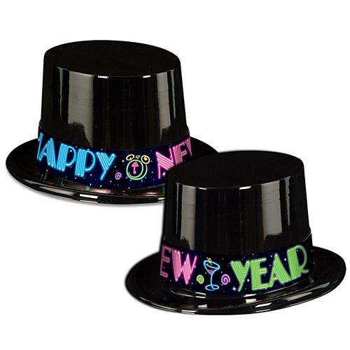 Neon Party New Year Top Hat with Printed Band