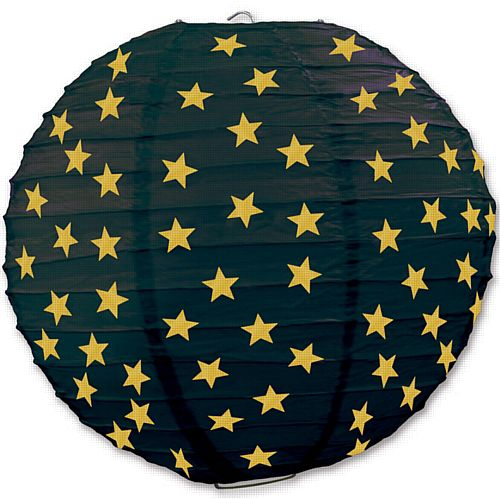 Black & Gold Star Paper Lanterns - 24.1cm - Pack of 3
