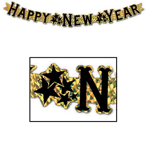 Gold Prismatic 'Happy New Year' Letter Banner - 9cm x 92cm