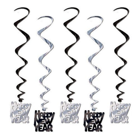 Click to view product details and reviews for Black Silver Happy New Year Whirls 838cm Pack Of 5.