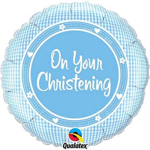 On Your Christening Boy Qualatex Foil Balloon - 45.7cm