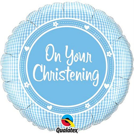 Click to view product details and reviews for On Your Christening Boy Qualatex Foil Balloon 457cm.