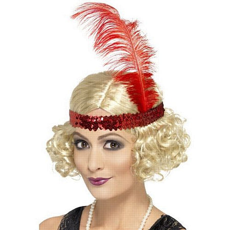 Blonde 1920s Charleston Wig With Feather Headband