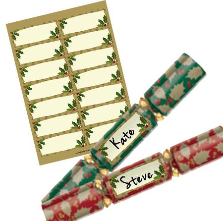 Gold Holly Personalised Christmas Cracker Labels - Sheet of 14