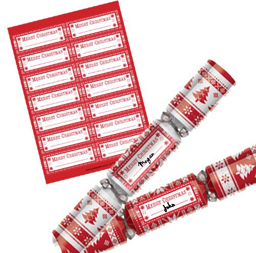 Nordic Personalised Christmas Cracker Labels - Sheet of 14