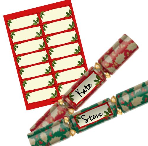 Red Holly Personalised Christmas Cracker Labels - Sheet of 14