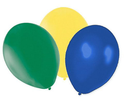 Yellow, Green and Blue Latex Balloons - 10