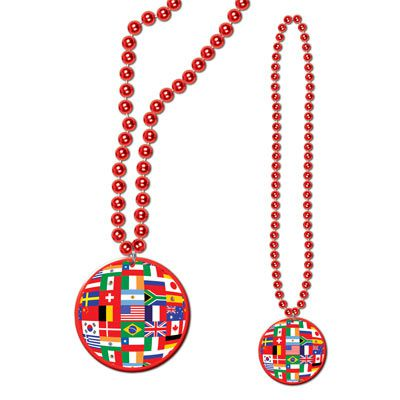 Beads with International Flag Medallion - 83.8cm
