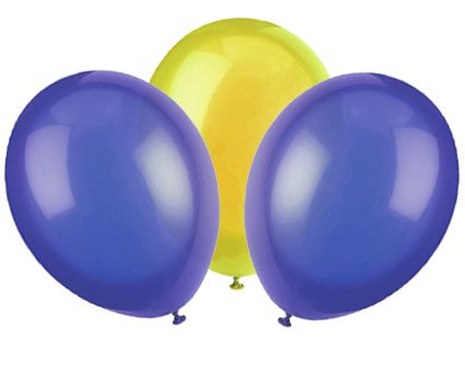 "Blue and Yellow Latex Balloons - 10"" - Pack of 50"