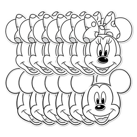 Mickey & Minnie Colour & Keep Masks - Assorted Designs - Pack of 12