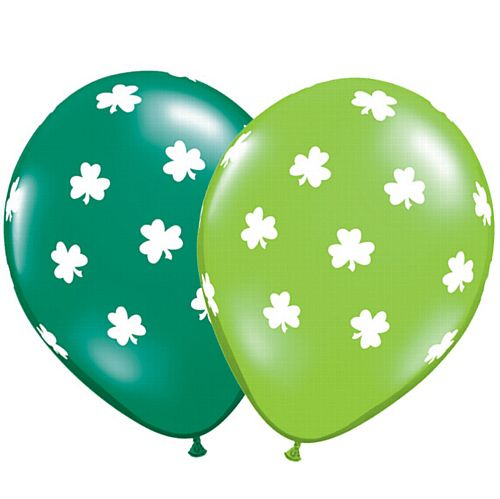 Big Shamrocks Qualatex Balloons Assorted Lime & Emerald - Pack of 10
