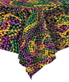 Plastic Mardi Gras Beads Tablecloth - 2.74m