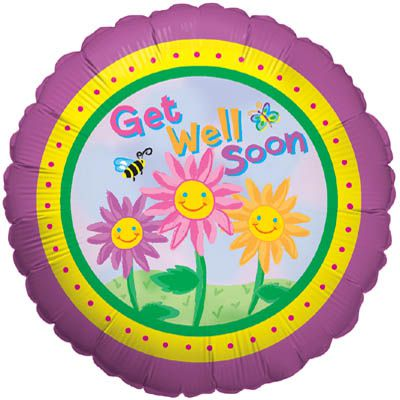 Happy Flowers Get Well Foil Balloon - 45.7cm