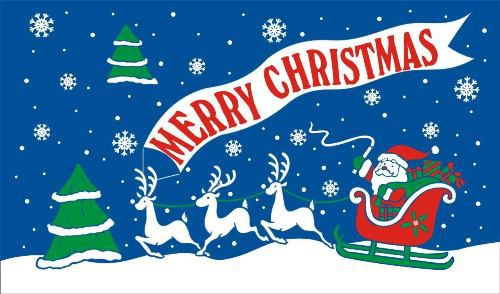 Merry Christmas Blue Polyester Fabric Flag 5ft x 3ft