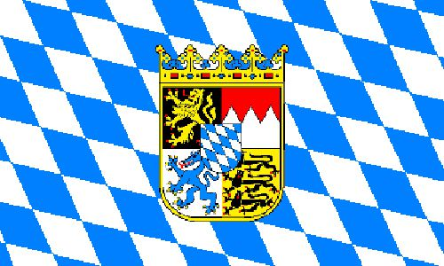 Bavaria with Crest Polyester Fabric Flag 5ft x 3ft