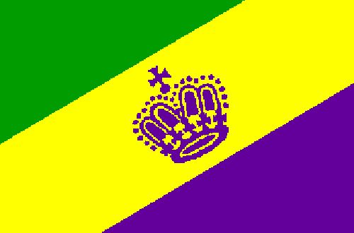 Mardi Gras Polyester Fabric Flag 5ft x 3ft