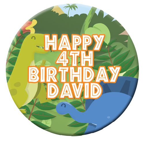 Personalised Badge 58mm- Dinosaur