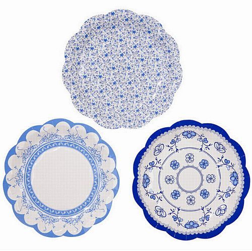Party Porcelain Blue Paper Plates - 17cm - Pack of 12