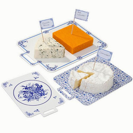Party Porcelain Blue Cheese Boards & Canape Flags - Pack of 23