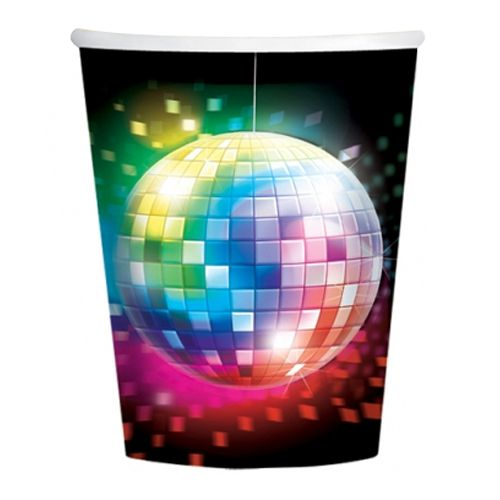 70's Disco Fever Paper Cups - 266ml - Pack of 8