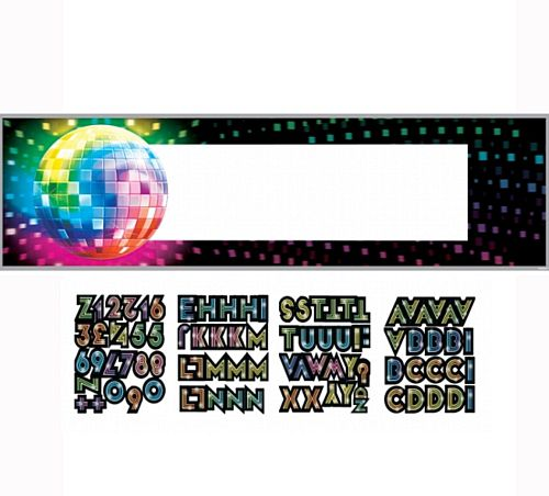 70's Disco Fever Giant Sign Banner with Stickers - 1.65m x 50.8m